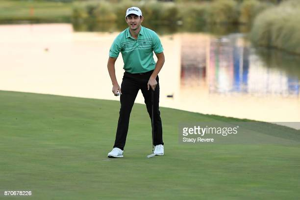 Patrick Cantlay makes a par putt on the second playoff hole to win the Shriners Hospitals For Children Open at the TPC Summerlin on November 5 2017...