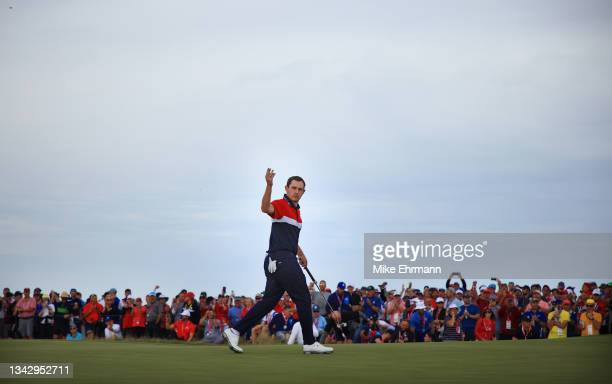 Patrick Cantlay of team United States reacts on the 15th green during Sunday Singles Matches of the 43rd Ryder Cup at Whistling Straits on September...