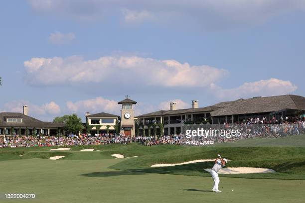Patrick Cantlay of the United States plays a shot on the 18th hole during the third round of The Memorial Tournament at Muirfield Village Golf Club...