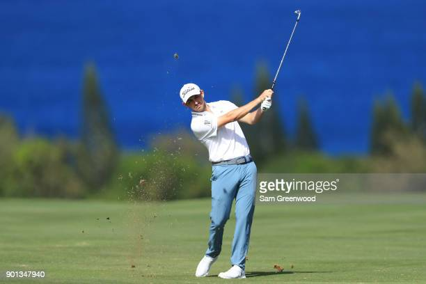 Patrick Cantlay of the United States plays a shot on the fourth hole during the first round of the Sentry Tournament of Champions at Plantation...