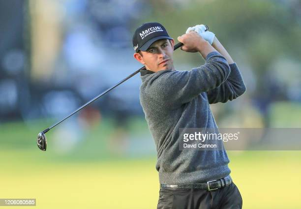 Patrick Cantlay of the United States plays his second shot on the par 5 11th hole during the first round of the Genesis Invitational at the Riviera...