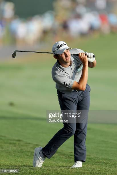 Patrick Cantlay of the United States plays his second shot on the par 4 18th hole during the third round of the THE PLAYERS Championship on the...