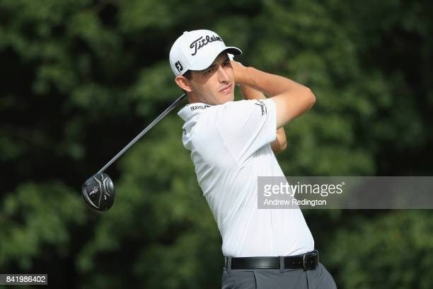 Patrick Cantlay of the United States plays his shot from the 14th tee during round two of the Dell Technologies Championship at TPC Boston on...