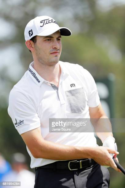 Patrick Cantlay of the United States plays his shot from the 16th tee during the first round of THE PLAYERS Championship at the Stadium course at TPC...