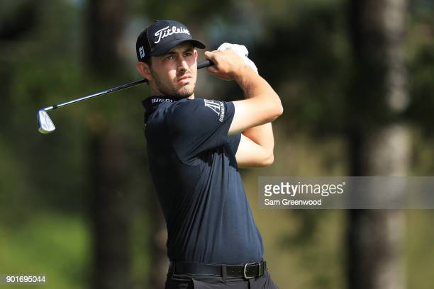 Patrick Cantlay of the United States plays his shot from the second tee during the second round of the Sentry Tournament of Champions at Plantation...