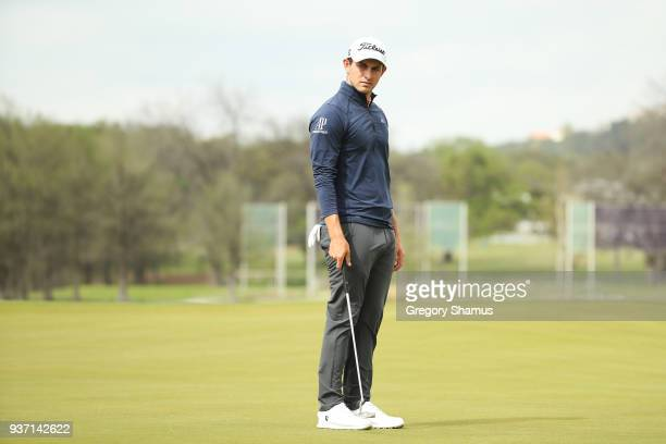 Patrick Cantlay of the United States reacts on the 14th green during the third round of the World Golf ChampionshipsDell Match Play at Austin Country...