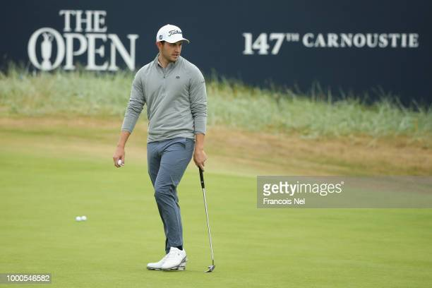 Patrick Cantlay of the United States walks on a green during previews to the 147th Open Championship at Carnoustie Golf Club on July 17 2018 in...