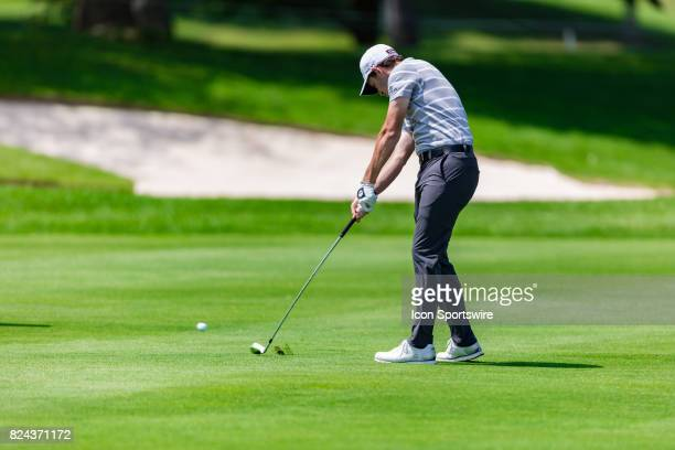 Patrick Cantlay plays a shot of the fairway of the 18th hole during third round action of the RBC Canadian Open on July 29 at Glen Abbey Golf Club in...