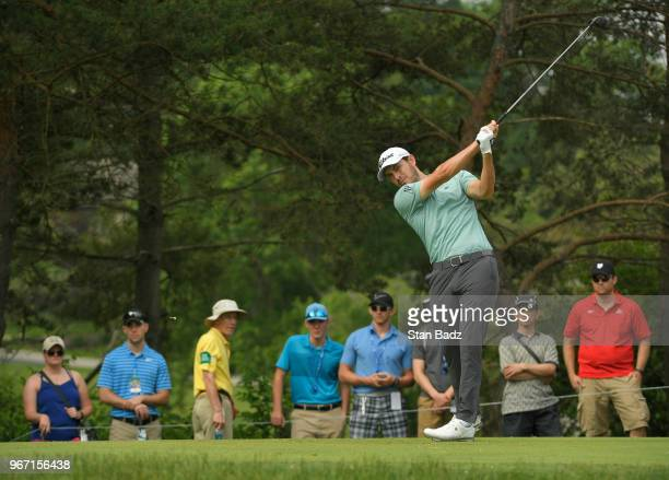 Patrick Cantlay plays a tee shot on the second hole during the final round of the Memorial Tournament presented by Nationwide at Muirfield Village...