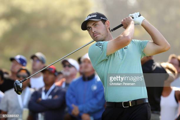 Patrick Cantlay plays his shot from the 11th tee during the final round of the Genesis Open at Riviera Country Club on February 18 2018 in Pacific...