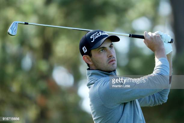 Patrick Cantlay plays his shot from the 12th tee during Round Three of the ATT Pebble Beach ProAm at Spyglass Hill Golf Course on February 10 2018 in...