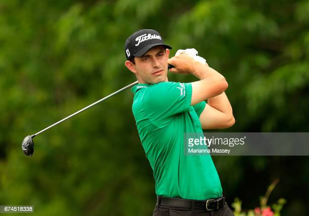 Patrick Cantlay plays his shot from the 16th tee during the second round of the Zurich Classic at TPC Louisiana on April 28 2017 in Avondale Louisiana