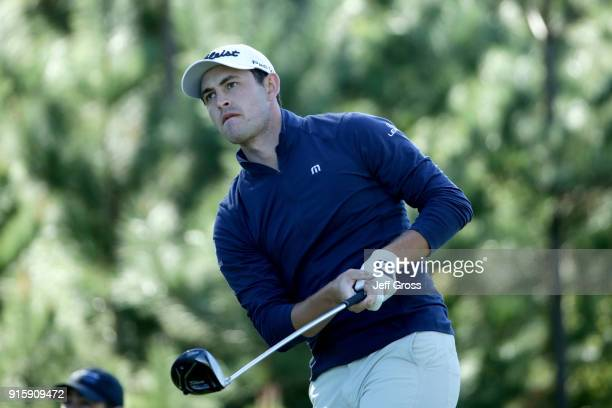 Patrick Cantlay plays his shot from the 18th tee during Round One of the ATT Pebble Beach ProAm at Monterey Peninsula Country Club on February 8 2018...