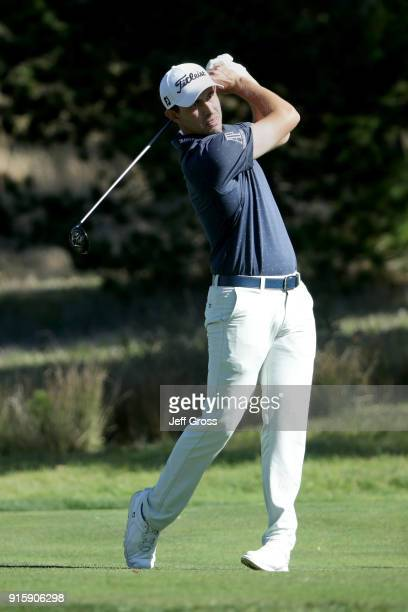 Patrick Cantlay plays his shot from the fourth tee during Round One of the ATT Pebble Beach ProAm at Monterey Peninsula Country Club on February 8...