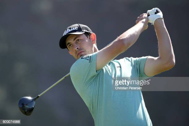 Patrick Cantlay plays his shot from the ninth tee during the final round of the Genesis Open at Riviera Country Club on February 18 2018 in Pacific...