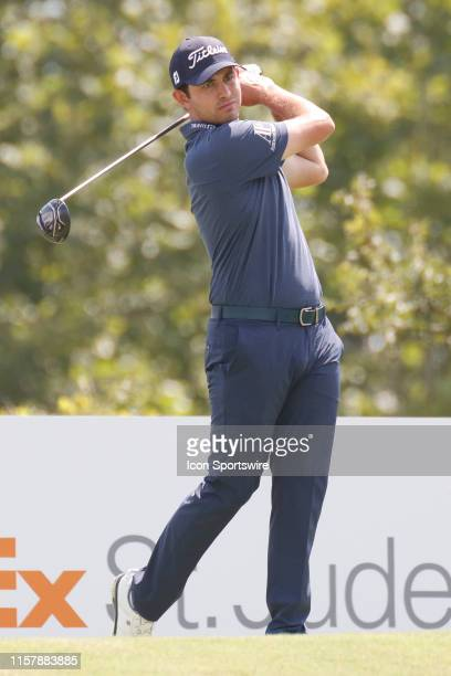 Patrick Cantlay plays his shot from the ninth tee during the second round of the World Golf Championships - FedEx St. Jude Invitational on July 26,...