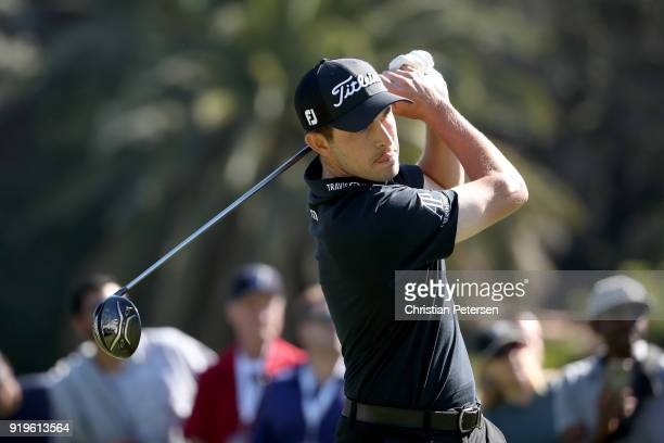 Patrick Cantlay plays his shot from the second tee during the third round of the Genesis Open at Riviera Country Club on February 17 2018 in Pacific...