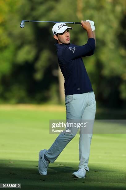 Patrick Cantlay plays his shot on the 13th hole during the first round of the Genesis Open at Riviera Country Club on February 15 2018 in Pacific...