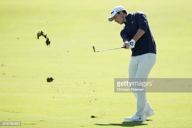 Patrick Cantlay plays his shot on the eighth hole during the first round of the Genesis Open at Riviera Country Club on February 15 2018 in Pacific...