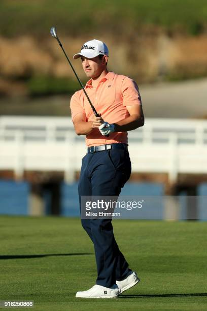 Patrick Cantlay plays his shot on the fourth hole during Round Two of the ATT Pebble Beach ProAm at Pebble Beach Golf Links on February 9 2018 in...