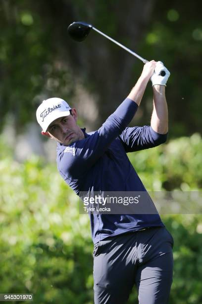 Patrick Cantlay plays his tee shot on the eighth hole during the first round of the 2018 RBC Heritage at Harbour Town Golf Links on April 12 2018 in...