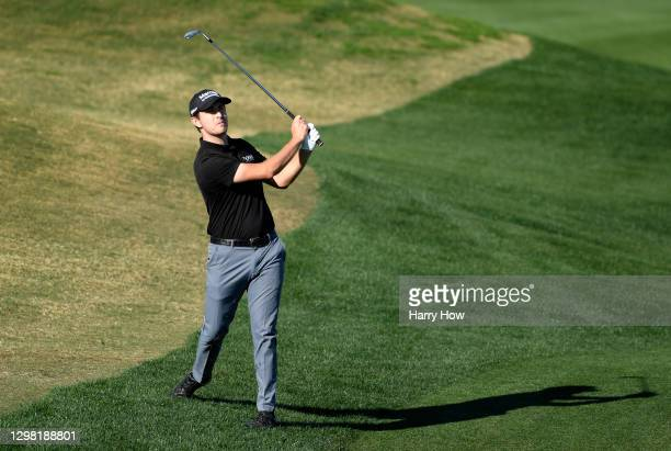 Patrick Cantlay plays his third shot on the 16th hole during the final round of The American Express tournament on the Stadium course at PGA West on...