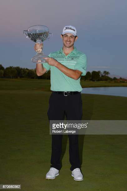 Patrick Cantlay poses with the winner's trophy after winning the Shriners Hospitals For Children Open at the TPC Summerlin on November 5 2017 in Las...