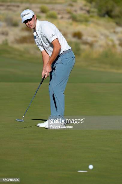 Patrick Cantlay putts on the 15th green during the third round of the Shriners Hospitals For Children Open at the TPC Summerlin on November 4 2017 in...