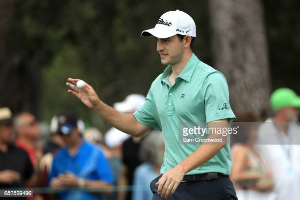 Patrick Cantlay reacts after a birdie putt on the ninth green during the final round of the Valspar Championship at Innisbrook Resort Copperhead...