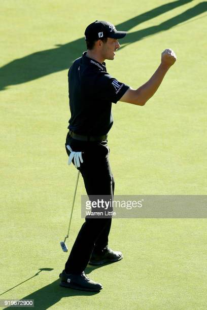 Patrick Cantlay reacts after making birdie on the 18th green during the third round of the Genesis Open at Riviera Country Club on February 17 2018...