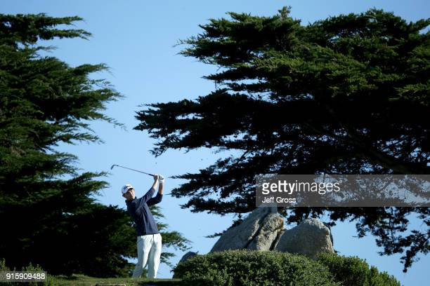 Patrick Cantlay records a holeinone on the 11th tee during Round One of the ATT Pebble Beach ProAm at Monterey Peninsula Country Club on February 8...