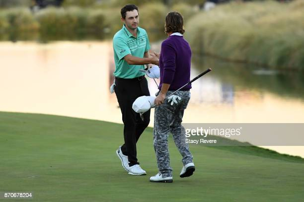 Patrick Cantlay shakes hands with Alex Cejka of Germany after the final round of the Shriners Hospitals For Children Open at the TPC Summerlin on...