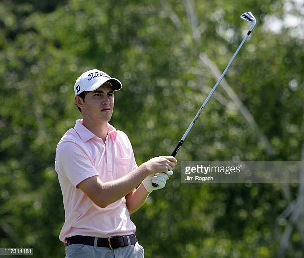 Patrick Cantlay watches his shot during round three of the Travelers Championship at TPC River Highlands on June 25 2011 in Cromwell Connecticut