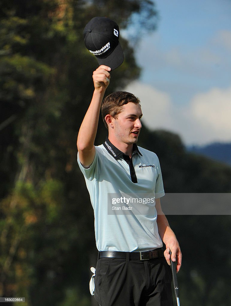 Patrick Cantlay waves his cap to the 18th gallery after winning the final round of the Colombia Championship at Country Club de Bogota on March 3, 2013 in Bogota, Colombia.