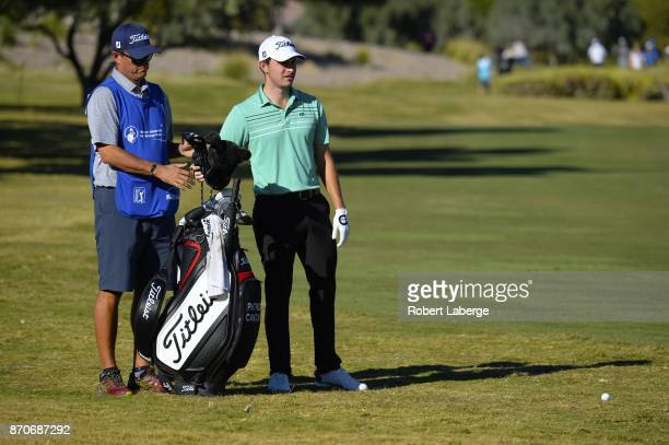 Patrick Cantley eyes a shot from the 13th fairway rough during the final round of the Shriners Hospitals For Children Open at the TPC Summerlin on...