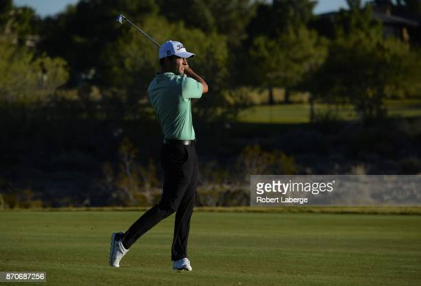 Patrick Cantley hits an approach shot on the 18th hole during the final round of the Shriners Hospitals For Children Open at the TPC Summerlin on...