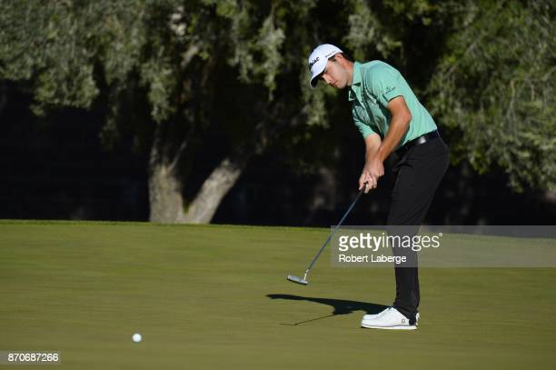 Patrick Cantley putts on the 13th hole during the final round of the Shriners Hospitals For Children Open at the TPC Summerlin on November 5 2017 in...