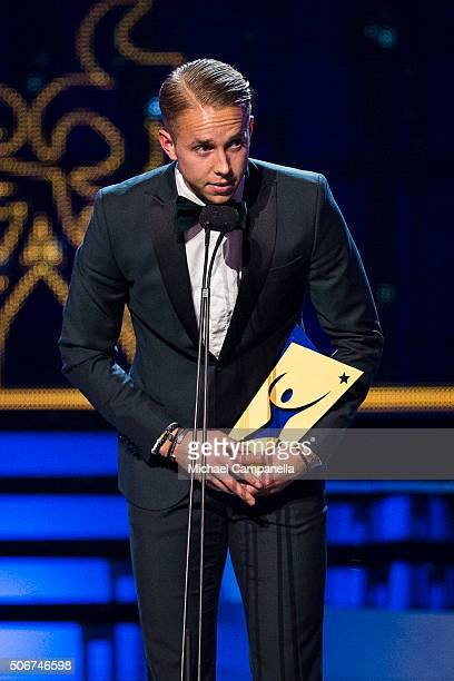 Patrick Carlgren receives the prize Team of the Year for the Sweden U21 national football team at the Swedish Sports Gala at the Ericsson Globe on...