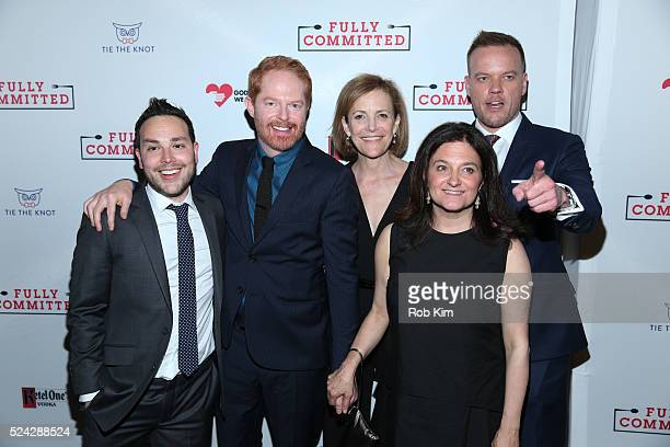 """Patrick Catullo, Jesse Tyler Ferguson, Barbara Whitman, Becky Mode and Jason Moore attend the opening night afterparty for """"Fully Committed"""" at..."""