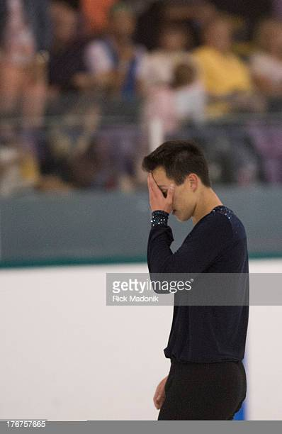 Patrick Chan doesn't appear all that happy with his routine after the finish at Skate Canada Summer Skate event in Thornhill, August 18, 2013. The...