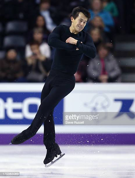 Patrick Chan launches as skaters practice their long routine as skaters prepare to compete in the ISU World Figure Skating Championships at Budweiser...
