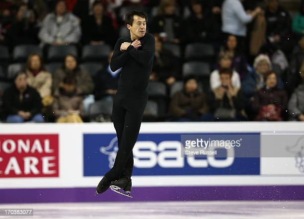 Patrick Chan leaps as skaters practice their long routine as skaters prepare to compete in the ISU World Figure Skating Championships at Budweiser...