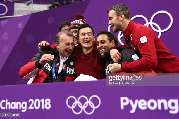 Patrick Chan of Canada celebrates his score in the Figure Skating Team Event – Men's Single Free Skating on day three of the PyeongChang 2018 Winter...