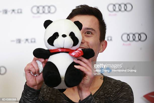 Patrick Chan of Canada celebrates winning the first place of Men Free Skating on day two of Audi Cup of China ISU Grand Prix of Figure Skating 2016...
