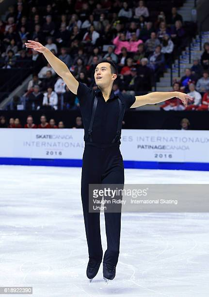 Patrick Chan of Canada compete in the Men Short Program during the ISU Grand Prix of Figure Skating Skate Canada International at Hershey Centre on...