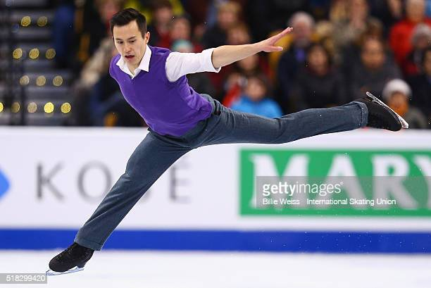 Patrick Chan of Canada competes during Day 3 of the ISU World Figure Skating Championships 2016 at TD Garden on March 30 2016 in Boston Massachusetts