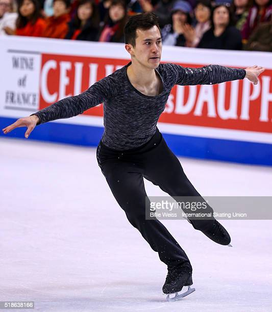 Patrick Chan of Canada competes during Day 5 of the ISU World Figure Skating Championships 2016 at TD Garden on April 1 2016 in Boston Massachusetts
