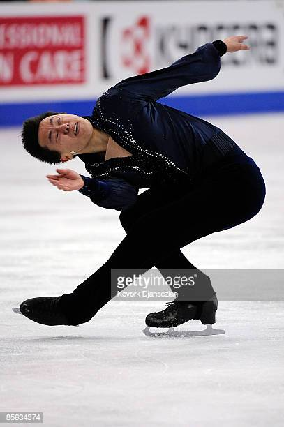 Patrick Chan of Canada competes in the Men's Free Skate during the 2009 ISU World Figure Skating Championships on March 26 2009 at Staples Center in...