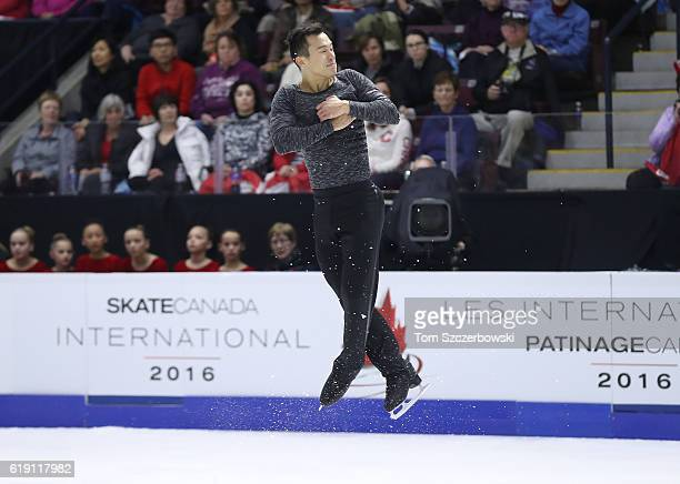 Patrick Chan of Canada competes in the Men's Singles Free Program during day two of the 2016 Skate Canada International at Hershey Centre on October...