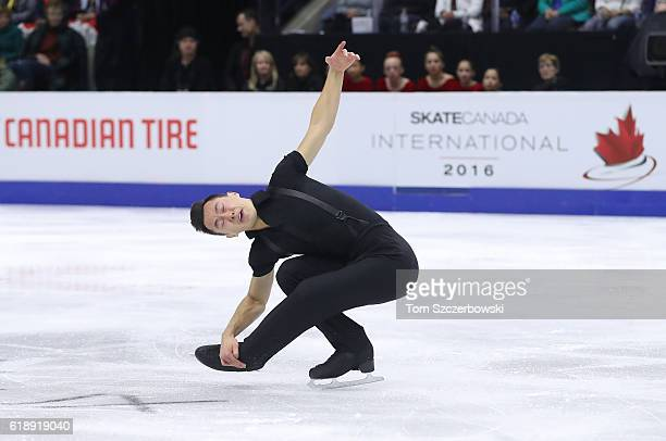 Patrick Chan of Canada competes in the Men's Singles Short Program during day one of the 2016 Skate Canada International at Hershey Centre on October...